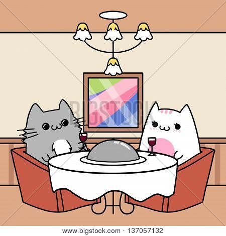 Two Cats' Memories: Eating at Upscale Restaurant. Creative Idea, Innovative art, Concept Illustration, Greeting Card, Cartoon Style Artwork