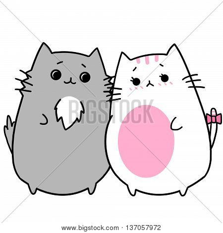 Two Lover Cats' Memories: Husband Accompanied Pregnant Wife. Creative Idea, Innovative art, Concept Illustration, Greeting Card, Cartoon Style Artwork