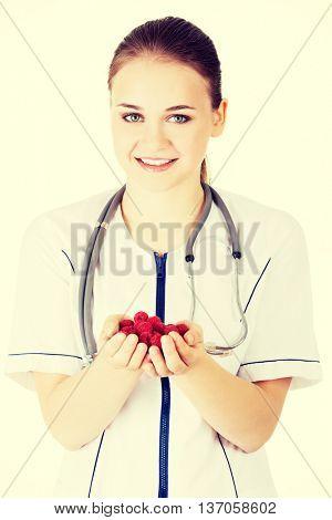 Healthy raspberries.