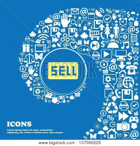 Sell, Contributor Earnings Sign Symbol. Nice Set Of Beautiful Icons Twisted Spiral Into The Center O