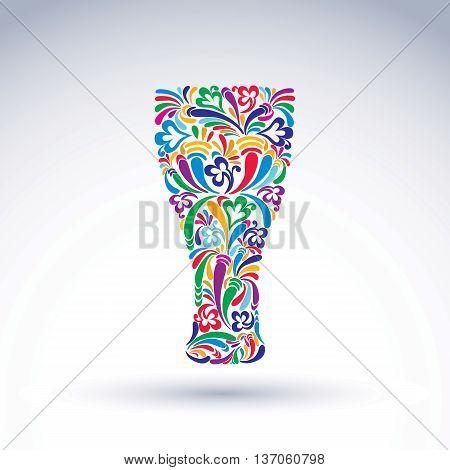 Glass decorated with abstract floral pattern and isolated on white background. Flowery art glassware vector illustration holiday theme advertising.