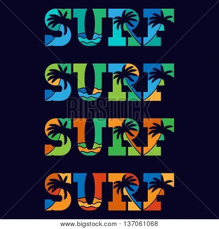 Set of Surfing typography posters. Concept in vintage style for print production. T-shirt fashion Design. Template for postcard banner flyer.