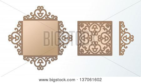 Laser cutting template for greeting cards wedding invitations save the date menu rsvp. Rich ornamented vector panel. East Arab Aid engraving background. Cutting file. Abstract silhouette pattern.
