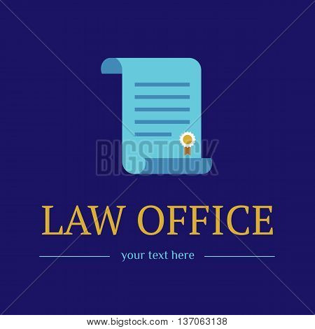 Law office logo. The judge, Law firm logo template, lawyer icon of vintage labels. Gold colorful badge roll and. Dura lex, sed lex quote. On blue background