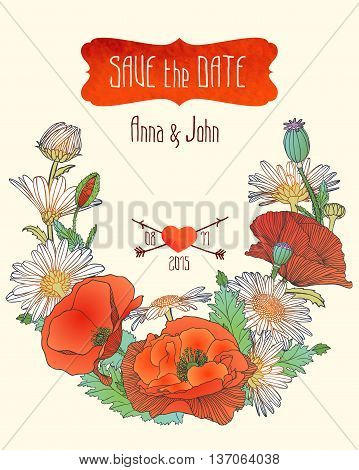 """Wedding invitation """"save the date"""" template with chamomile and poppy flowers"""