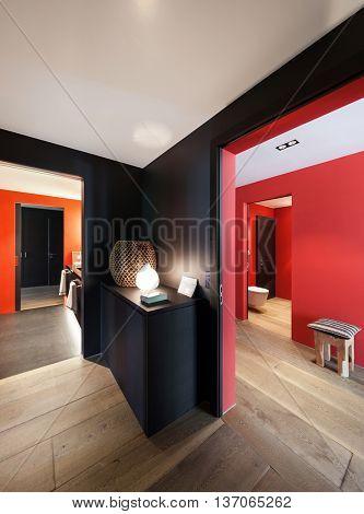 Interior, lobby of a modern house, wooden floor
