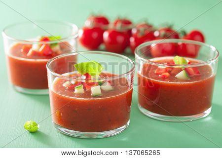 cold gazpacho soup in glass