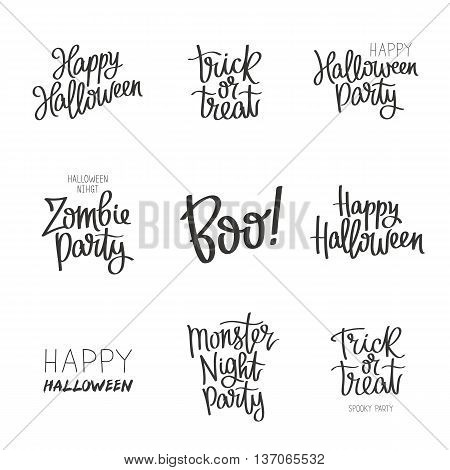 Set quotes on Halloween. Trick or treat. Spooky party. Zombie and monster. The trend calligraphy. Vector illustration on white background. Elements for design. All Saints' Day.