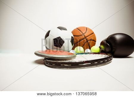 View of different olympics sport on white background