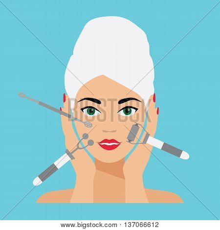 Face Care and Treatment Flat Vector Illustration. Deep Cleaning