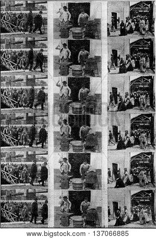 Cinematographic tapes, vintage engraved illustration. Industrial encyclopedia E.-O. Lami - 1875.