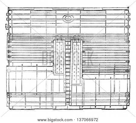 Cylindrical double boiler front, vintage engraved illustration. Industrial encyclopedia E.-O. Lami - 1875.