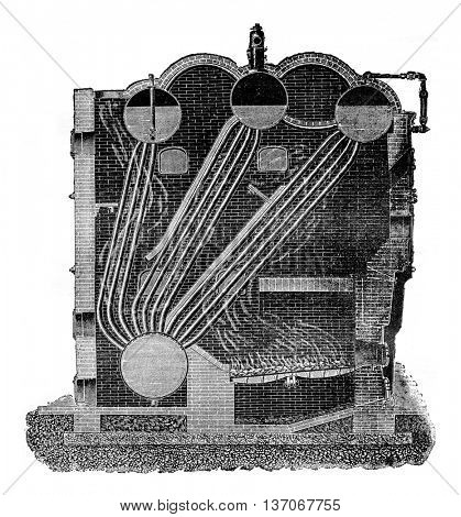 Boiler Stirling, vintage engraved illustration. Industrial encyclopedia E.-O. Lami - 1875.