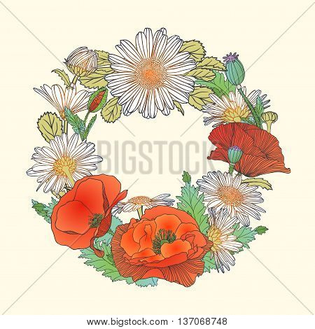 Poppy and chamomile flowers wreath. Nature template
