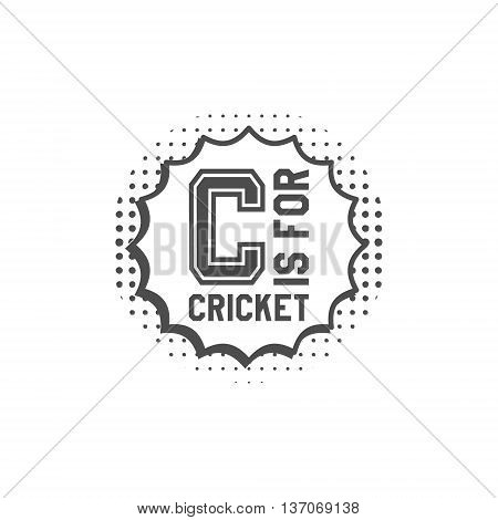 Cricket monogram emblem and design elements. Cricket logo design in pop art style. Cricket club badge. Sports sticker. Monochrome dotted background. Use for web or tee design print on t-shirt. Vector