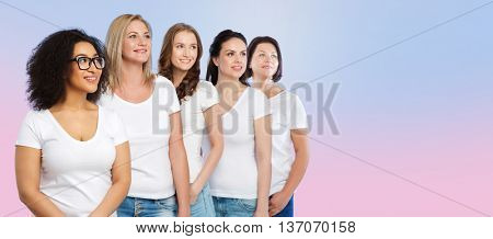 friendship, diverse, body positive and people concept - group of happy different size women in white t-shirts over rose quartz and serenity gradient background