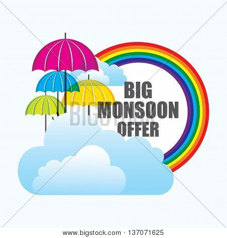 big monsoon offer banner design with colorful umbrella and clouds vector poster