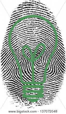 Fingerprint with bulb silhouette 3D Render