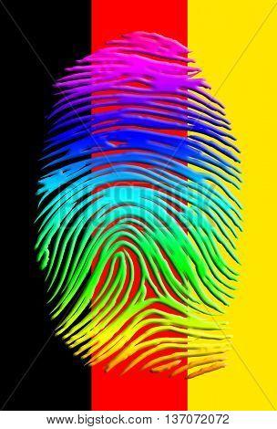 Rainbow fingerprint over German flag 3D Render