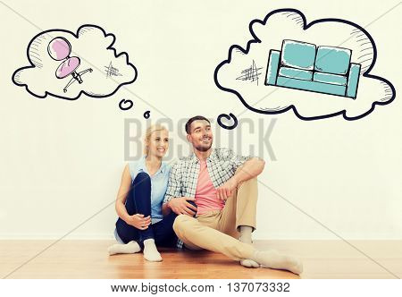 home, people, repair, moving and real estate concept - happy couple of man and woman sitting on floor at new place with text bubbles and furniture doodles