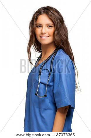 Beautiful young nurse isolated on white