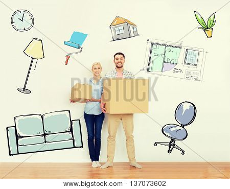 home, people, repair and real estate concept - happy couple holding cardboard boxes and moving to new place over interior doodles background