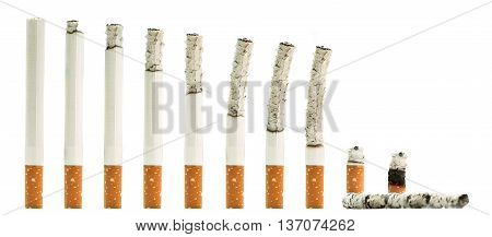 A montage of cigarettes during different stages of burn.Isolated on white background