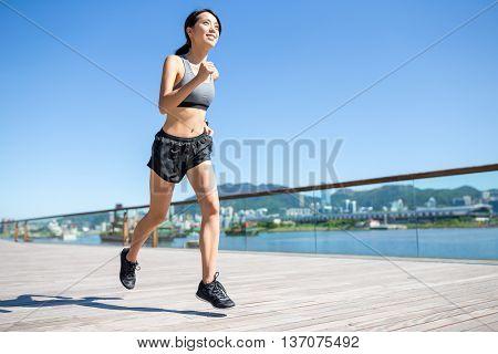 Woman running at outdoor