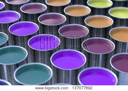 Many different colors in metallic paint buckets (3D Rendering)
