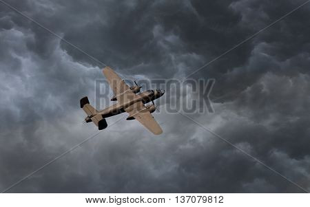 Unmarked bomber flying in the stormy sky