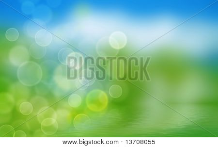 poster of summer background with blurs and refelctions in water