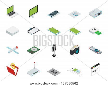 Flat 3d isometric computerized technology designer workspace infographic concept vector. Tablet, laptop, smart phone, camera, player, desktop computer, peripheral devices icon set. poster