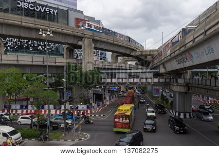 BANGKOK, THAILAND : 05 JULY 2016 - PANORAMA of Siam Discovery Shopping Mall, BTS sky train, Rama I Rd, Skywalk. Bangkok, Thailand. Siam Discovery is one of Bangkok's main shopping areas.