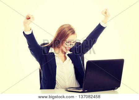 Happy, cheerful caucasain business woman