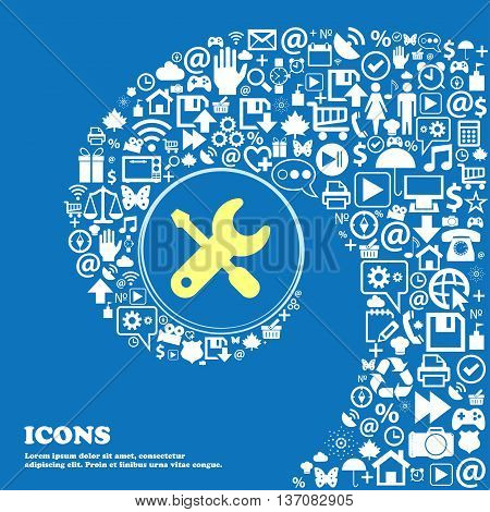 Screwdriver, Key, Settings Sign Symbol. Nice Set Of Beautiful Icons Twisted Spiral Into The Center O