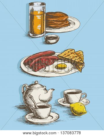 Freehand drawing of the breakfast. Sausages eggs sunny side up toast crumpets lemon tea juice and coffee with kettle. Vector illustration.