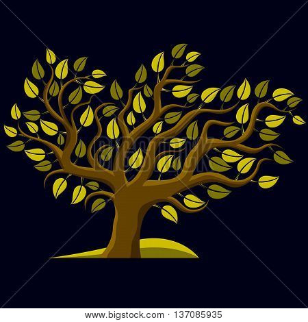 Art Illustration Of Spring Branchy Tree, Stylized Ecology Symbol. Graphic Design Vector Image On Sea