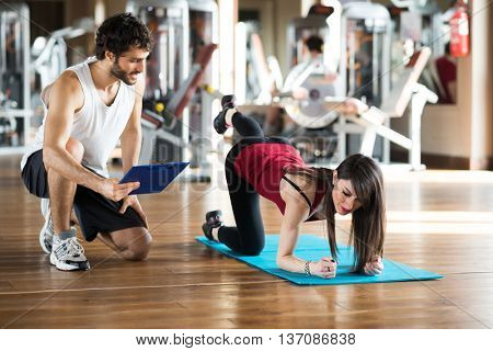 Woman working out on a gym