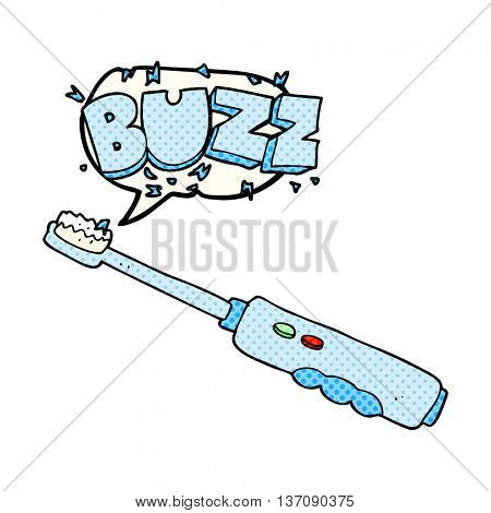 freehand drawn comic book speech bubble cartoon buzzing electric toothbrush