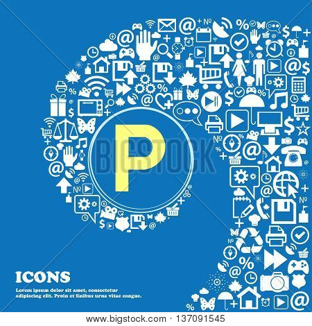 Parking Sign Symbol. Nice Set Of Beautiful Icons Twisted Spiral Into The Center Of One Large Icon. V