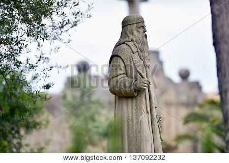 Statue Of Ramon Lull At Sanctuary De Nostra Senyora De Cura, Puig De Randa, Mallorca, Balearic Islan