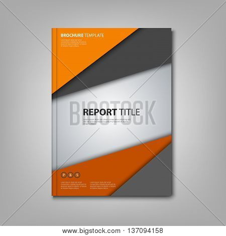 Brochures book or flyer with orange grey triangles template vector eps 10