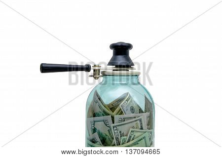 symbol-preserving money in a glass jarisolated on white background