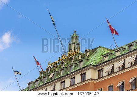 Stockholm, Sweden - March 30, 2016:  Grand Hotel, A Five-star Hotel In Stockholm. Since 1901, The No