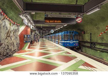 Stockholm Sweden - March 31, 2016: Stockholm Subway.  Interior Of Radhuset Station. Radhuset Metro S
