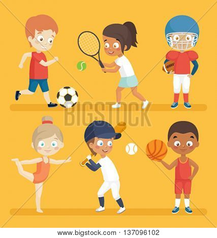 Sport kids playing football, tennis, baseball, basketball and others.