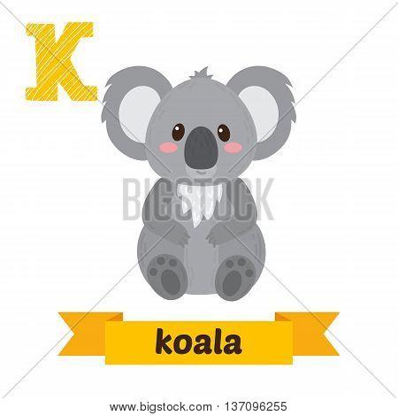Koala. K Letter. Cute Children Animal Alphabet In Vector. Funny Cartoon Animals