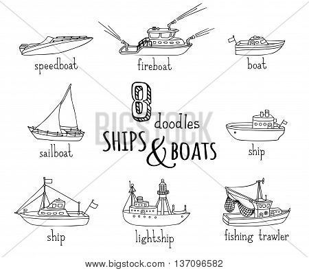 Vector Doodles Nautical Vessel Icons Set.