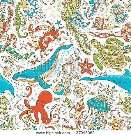 Vector Seamless Wild Sea Life Pattern.