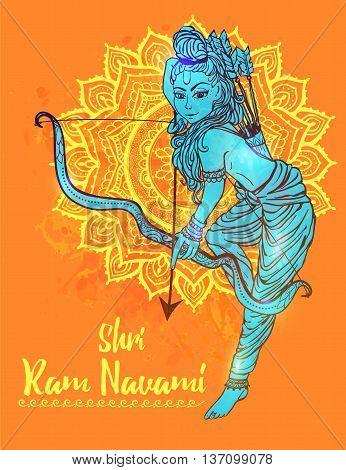 Ornament beautiful card with hindu god sri Rama Geometric element hand drawn image lord Rama. Medallion, yoga, india, vector illustration of Happy Dussehra. Happy Shri Ram Navami. Holiday India